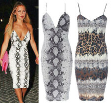 Womens Celeb Style Sam Faiers Snake Print Cami Strap Bodycon Animal Summer Dress