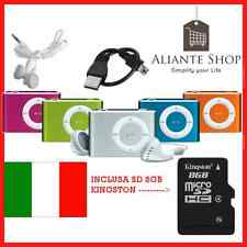 MINI LETTORE MP3 PLAYER MP3 4GB 8GB 16GB 32GB CLIP Micro SD Kingston 8GB omaggio