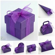 PACK 10 - Luxury DIY Wedding Party Favour Gift Boxes - PURPLE SILK