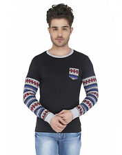 Paani Puri Clothing Embroidered Black Cotton Blended Men's T-Shirt _ 66