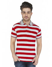 Paani Puri Clothing Striped Red Cotton Blended Men's T-Shirt _ 244