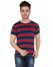 Paani Puri Clothing Striped Red Cotton Blended Men's T-Shirt _ 46