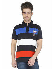 Paani Puri Clothing Embroidered Black Cotton Blended Men's T-Shirt _ 283