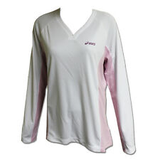 Asics Womens Long Sleeve Sports Gym T-shirt White/Pink Size X Large 579923