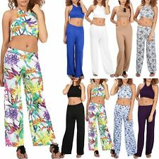 Womens Ladies Halter Neck Crop Top Wide Leg Palazzo Pants Trousers Co Ord Set