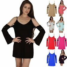 Womens Ladies Bell Sleeve Lace Strappy Drop Open Shoulder Tunic Swing Dress Top