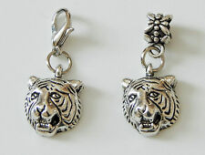 CHOICE OF ONE, FIVE OR TEN TIGER HEAD CHARMS ON LOBSTER CLASPS OR BAIL BEADS
