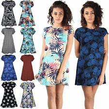 Ladies Printed Summer Short Sleeve Flared Tunic Top Womens Swing Dress Plus Size