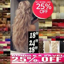 """Clip in Hair Extensions 18-28"""" one piece half full head Black Brown Blonde Red"""