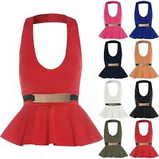 Womens Ladies Belted Peplum Bodycon Sleeveless Halter Neck Top Mini Dress