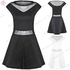New Womans Ladies Cap Sleeve Mash Waist Mini Flared Skater Dress Party Top