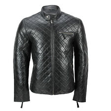 XPOSED Mens Real Leather Black Smart Casual Quilted Biker Style Bomber Jacket