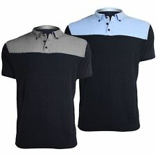 Mens Fine Knitted Collared Buttons Short Sleeves Contrast Panel Polo T Tee Shirt