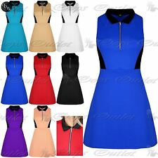 Ladies Stretchy Plain Sleeveless Skater Mini Dress Womens Swing Zip Up Top