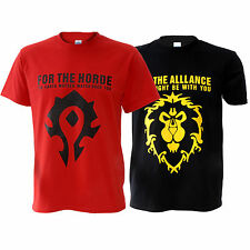 WOW World of Warcraft The Horde / Alliance Distressed maschio T-Shirt Maglietta