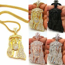 MENS ICED OUT14K GOLD PLATED JESUS PENDANT BLACK,SILVER,FRANCO CHAIN NECKLACE