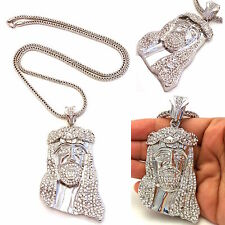MENS ICED OUT 14K SILVER PLATED JESUS PENDANT GOLD,BLACK,FRANCO CHAIN NECKLACE