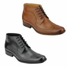 Mens Real Leather Tan Brown Black Brogues Boots Smart Formal Lace up Ankle Shoes