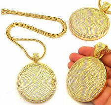 MENS ICED OUT LAB DIAMOND 14K GOLD PLATED ROUND PENDANT FRANCO CHAIN NECKLACE