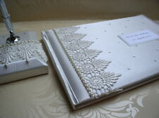 Vintage Style Victorian Lace & Pearl Wedding Guest Book & Matching Pen Set