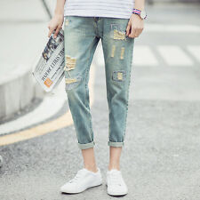 RUGGED RIPPED Imported torn distressed hole skinny denim mens jeans  nine Korea
