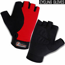 Cycling Gloves Synthetic Leather Half Finger Grip Palm Bicycle Gloves Black/Red