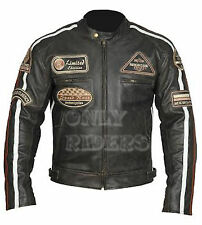 Chaqueta de Piel Con Parches Para Moto, Leather Jacket, Marron, Vintage, Chopper