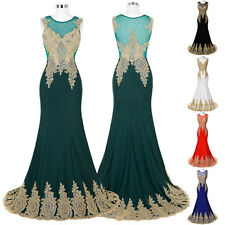 Sexy Appliques Long Maxi Gown Formal Prom Bridesmaid Evening Party Wedding Dress