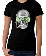 Skull Smoking Cannabis Women's T-Shirt   - Weed Hydroponics Spliff