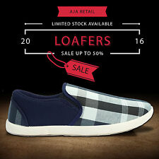 Blue Check Loafers Canvas Casual Sneakers Shoes for Men
