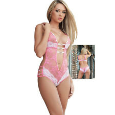 1/D1337 Sexy o Lingerie Erotic Foreplay Lace Teddy Bodysuit Pink Temptation XXL
