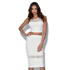 Ginger Fizz ASOS White mesh stripe fitted party pencil Skirt GF14303S