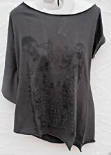 ladies girls goth skull print Boat Neck Top tee shirt~ crafted new  8.10.12.14