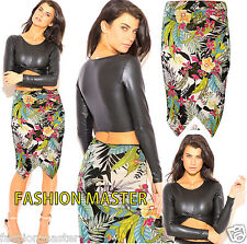 WOMENS LADIES KIM KARDASHIAN TROPICAL WRAP MIDI SKIRT COLD SHOULDER CROP TOP SET