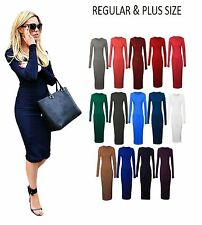 A22 Women Long Jersey Sleeve Plain Stretch Bodycon Midi Dress Plus Size 6-26