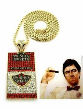 MENS ICED OUT GOLD / SILVER SWISHER SWEET CIGRARILLOS PENDENT CHAIN NECKLACE NEW