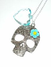 "Pretty large sugar skull with flower & aqua heart necklace on long 32"" chain"