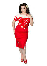 50s Rockabilly Wiggle Skirt, Blood Red 1950s Reproduction Pencil Skirt • XS-XL