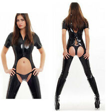 catsuit adult women sexy costumes Erotic Fetish Wetlook Jumpsuit Clubwear Black