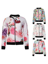Ladies Long Sleeved Zip Front Floral Tropical Mono Bomber Summer Jacket