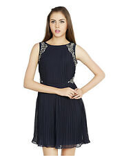 W.A.Y(We Are Young) Lounge Wear Navy embellished SHORT DRESS for Women_5105_Navy