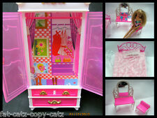 BARBIE SINDY DOLL PLASTIC FURNITURE BED DRESSING TABLE & CHAIR WARDROBE UKSELLER