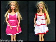 BARBIE DOLL SIZED HANDMADE CLOTHING CUTE KNITTED DRESS OUTFIT UK SELLER FREE P&P