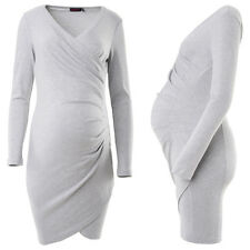 Purpless Maternity Contemporary Side Pleated Long Sleeves Maternity Dress 6232