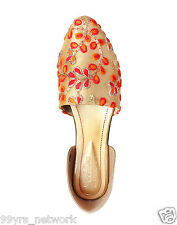Siendo Desi Trendy Embroidered Flats Red Orange Sandal