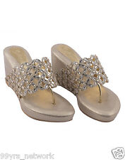 Siendo Desi Golden Sparkle Platforms Gold Slip-On