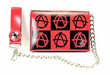 Anarchy Square Checkered Print Trifold wallet with chain Punk Rock Goth Style