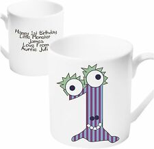 Personalised Monster Age Ceramic Mug - Ages 1 - 10 - Any Message - Free Delivery