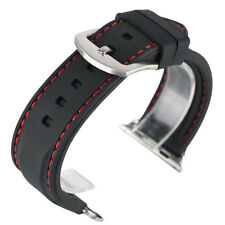 Men's Sport Waterproof For iWatch 38 42mm Apple Watch Band Black Silicone Strap