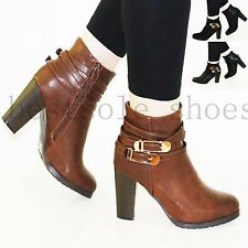 LADIES WOMEN' BUCKLE STRAP CHUNKY BLOCK HIGH HEEL ZIPPED ANKLE BOOTS SHOES SIZE